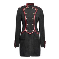 Cheap Wholesale-Christmas Military style BLACK gothic women tailored suit dust three-quarter outerwear coat