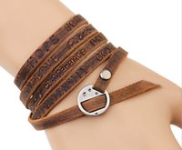 bead set wedding band - New rows worn finish leather bracelet with burnished gold round casting buckle and words on band