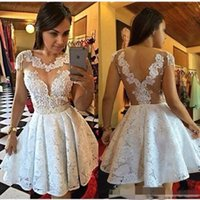 Wholesale 2016 White Graduation Dresses Jewel Nude Cap Sleeves Ball Gown Mini Lace Backless Sexy Bling Homecoming Gowns Plus SIze Short Prom Dress