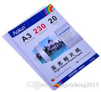 Expreso libre A3 (420 * 297 mm) 230g 20 hojas de papel fotográfico de alto brillo impermeable papel fotográfico Papel tinta, para una variedad de impresoras de inyección de tinta