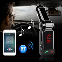 Wholesale BC06 Bluetooth Car Kit Car Speakerphone BT Hands Free Dual FM Transmitter Port V A AUX IN Music Player For Samsung iPhone Mobile