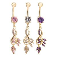 Wholesale Hot Crystal Tassel Dangle Navel Belly Bar Button Ring Golden Tone Body Jewelry Piercing