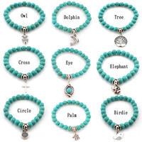 Wholesale Fashion Turquoise beads bracelets Tree Owl dolphin Cross palm Charm Bracelets For man women Jewelry Accessories