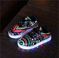 baby skate shoes - New Style Led Light Baby Shoes Skate Shoes Printed Color Lighten Sporting Shoes Boys Girls Casual Footwear PU Leather Shoes