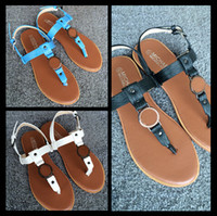 Wholesale 2016 Hot selling COLORS T BAR FLAT SANDALS Sandals comfortable flat sandals Large size