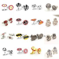 Wholesale Free DHL Fashion Cufflink Superman Star Wars Batman spiderman Cufflinks Fathers Day Gifts For Mens Jewelry Cuff Links Z426
