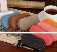 Wholesale 2016 New Hot Crocodile leather car key cases Drill can be attached with zipper Leather Wallets ya