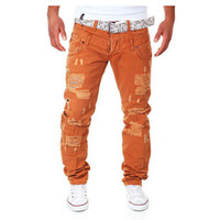 Wholesale Hot New Arrival Men s Fashion Casual Ripped Long Hole Design Cargo Pants Male Double Waist Decoration Overalls Trousers