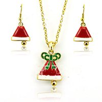 america ornament - Europe And America Necklace Earrings Set Red And White Christmas Bells Ornaments Drop Oil Process Christmas Gift