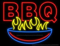 bbq shop - BBQ Handcrafted Neon Sign Real Glass Tuble Light Outdoor Barbecue Bar Camp Display Sign Shop Store Advertisement Sign quot x24 quot