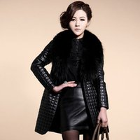 Wholesale 2016 New Clothing Womens Coats Faux Fur Collar Coat Leather Jacket Coats Outerwear Winter Warm Long Parkas Jacket Outwear Q1065