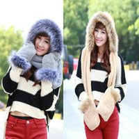 Wholesale New Korean women fur hats winter Double plush thick warm girls lady s glove scarf hat set