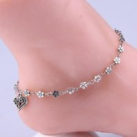 Wholesale 2016 trendy antique silver heart anklets for women ankle Bracelet on the leg trendy flower chain Bohemian foot Bracelets jewelry vintage