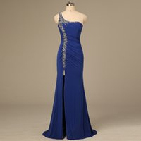 beaded tuxedo - One Shoulder Ladies Formal Tuxedo Custom Dark Blue Elegant evening dressess Custom Party Gowns mother of the bride Celebrity Dress QW70
