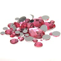 Wholesale Mixed Sizes Pink Color Round Acrylic Loose Non Hotfix Flatback Rhinestones Nail Art strass For Wedding Clothing Decorations