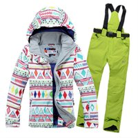 Wholesale warm waterproof gsou snow colorful ski suit women snowsuit ski jacket and pants