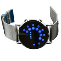acrylic bangle display - Fashion Cool MEN Clock Watch Iron Man Blue LED Watches Luxury Stainless Steel Binary Bracelets amp Bangles Wristwatch gift