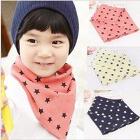 baby neutral bibs - 2016 New Fashion Wild Cotton Bibs Soft and Comfortable Five pointed Star Printed Double Adjustable Neutral Bandage FTRK0075