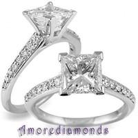 antique princess cut diamond ring - 2 ct GIA E IF princess cut diamond antique vintage engagement ring platinum