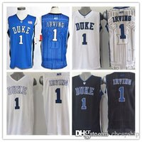 Wholesale New Top Quality Kyrie Irving Duke Jersey Blue Devils College Basketball Jerseys Stitched Jersey Blue White Embroidery logo