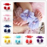 beautiful sandal - Trial Order Barefoot Baby Sandals Matching Triple Chiffon Flower Headband colors Cute Beautiful