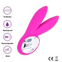 Wholesale XFMAX Jack Rabbit Silicone Vibrator USB Rechargeable vibration modes stimulation clitoris and vagina sex toys