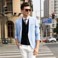 Wholesale 2016 Men s Summer Fashion Blazers Solid Blue Suits Spring Summer High quality Men s Linen Slim Fit Jacket Casual Mens Wedding Suits FS0025