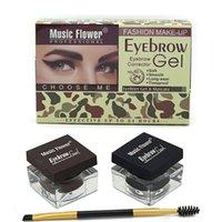 ae light - Brand Cosmetics Multifunction Eyebrow Makeup Kit Eye Brow Gel Eyeliner Gel Mascara Eye Liner Set Black Light Dark Brown ae