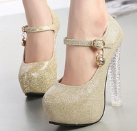 Wholesale Silver Strappy Wedding High Heels - Crystal heel Bride wedding shoes sparkly glitter silver gold pumps sexy high heels shoes with strappy elegant runway show 2014 size 35 to 39