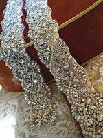 beaded bridal trims - Pearl and Rhinestone Bead Trim Bridal Sash Belt Crystal Bead Trim Bridal Sash Applique ONE YARD Choose Yur Ribbon Color