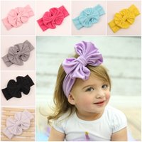 Wholesale 2016 New Girls Toddler Big Hair Bows Solid Cotton Headbands For Girls European Newborn Baby Hairbands Infants Hair Accessories