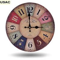 Wholesale Decoración del hogar Retro Classic Vintage reloj de pared de madera Home antiguo decorativo colorido número gran reloj R15