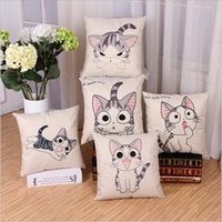 Wholesale The simplicity of modern cartoon cat with flax linen pillows pillow cover on the sofa pillow pillowcase car