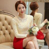 apricot woolen - Korean Style Women Lace Blouse Winter Warm Woolen Liner Blouses Ladies Slim Fit Office Work Tops Black White Apricot S XXL FHF0808