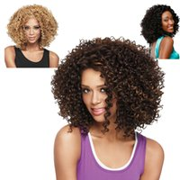 afro curl wig - High Quality Kanekalon Synthetic Fiber Afro curls Curly shoulder length wig Champagne Gold Black Brown Hairpiece African American Wigs