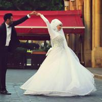 arab hijab hot - 2016 Hot Crystals Muslim wedding dress Long Sleeves Hijab High Neck Wedding dress Brides Gown Arab tenement