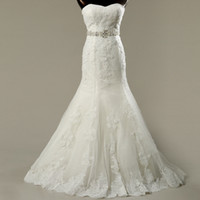 Wholesale Lace Tulle Mermaid Wedding Dress With Pearls Sweetheart Appliques Wedding Gowns New Vestido De Noiva Curto