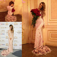 beaded rose pattern - Gorgeous Evening Dresses With long Sleeves champange blush Appliques rose flower train Mermaid prom Dress Long See Through Sexy
