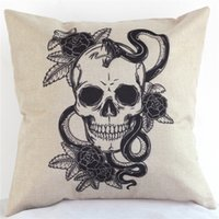 adult bedroom decor - 10pcs cm Skull Cushion Cover Halloween Cushion Cover Linen Cotton Square Halloween Skull Pillowcase for Bedroom Sofa Decor