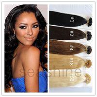 Wholesale Keratin Nail Tip Hair Women Pre bond U tip Human Hair Extensions Straight Prebonded Hair Hot Sale online