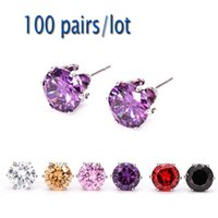 Wholesale pairs Christmas Gift Multi Color MM Crystal Stud Earrings Jewelry Allergy Free Earrings For Women Girls
