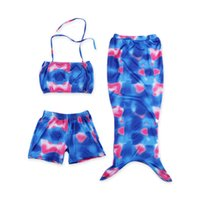 Wholesale 2016 Summer New Arrival Mermaid Swimsuits Baby Girls Blue Swimming Sets Tube Tops Trunks Tails Fashion Children Swimwear