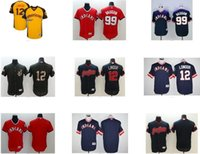 Wholesale Men s Lindor Ricky Vaughn Blank Black Yellow Red Blue Cleveland Indians Baseball Jersey Top Quality Drop Shipping Accept Mixed orders