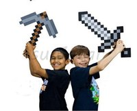 axe weapon - EMS Foam Diamond Blue Gold Grey Sword Pickaxe pick axe Weapons Mosaic EVA Toys For Kids Christmas Gift