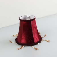 beaded lampshades - Red Beaded Lampshade Classical Cloth Lampshade Cover Shade Red color for Home Art Deco Clip On