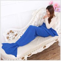 Wholesale Adult Handmade Mermaid Tail Blankets cm Crochet Mermaid Blankets Mermaid Tail Sleeping Bags Air Condition Blanket Knit Sofa Blankets