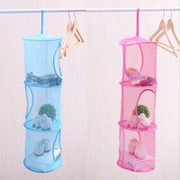 Wholesale 3 Layers Toys Storage Bag Clothes Hanging Mesh Bag Foldable Laundry Basket