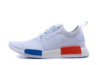 Wholesale NMD Runner Primeknit Black Red Blue Men s Sports Running Shoes NMD R1 Primeknit PK athletic shoes size
