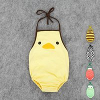 baby fresh designs - 2016 fresh summer baby clothes hanging neck triangle baby climb clothes chick cow watermelon bee frog design jumpsuits