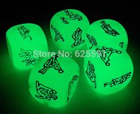 Wholesale T amp G dice High quality Glow in the dark Sex Dice for board game Sexy Love Game dice with black bag for Couple Gift